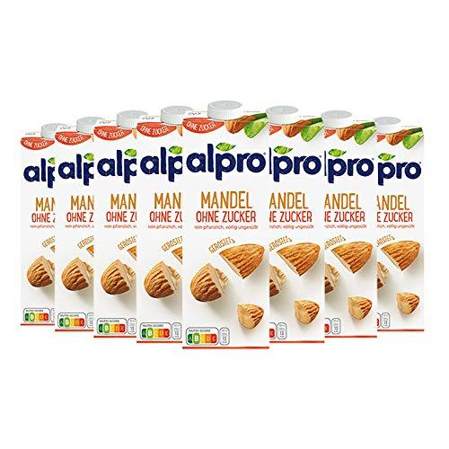 8x Alpro - Mandel Drink Ungesüßt, aus Mandeln ohne Soja - 1000ml