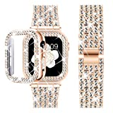 DABAOZA Compatible Apple Watch Band 44mm with Case, Bling Women Girl Dressy Full Sparkling Diamonds Band with Shiny Protective Bling Bumper Frame Cover for iWatch SE/Series 6/5/4 (Rosegold, 44mm)