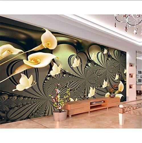 Pmhhc Personnalisé Salon Hôtel Café Fond Mur 3D Papier Peint Doré Lumière Lily Papillon Photo Murale 3D Papier Peint-350X250Cm