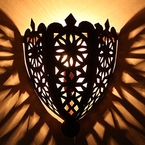 Marokkanische Wandleuchte orientalische Wandlampe EWL06 eisen-rost-finish | Kunsthandwerk aus Marrakesch | Prachtvolle Vintage Wandbeleuchtung
