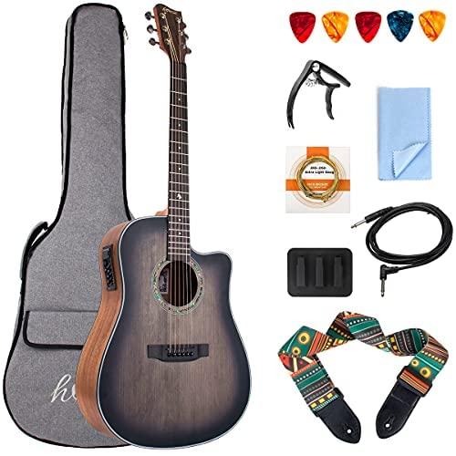 Acoustic Electric Guitar,41 Inch Professional Cutaway Full-size Dreadnought Folk Beginner Kit Top Spruce 6 Metal Strings with Guitarra Bundle (Gig Bag, Strap, Pick all accessories