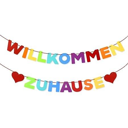 Willkommen Zuhause Girlande Banner Deko Welcome Home Girlande Banner auf Deutsch f/ür Familie Partei Dekoration Welcome Home Banner