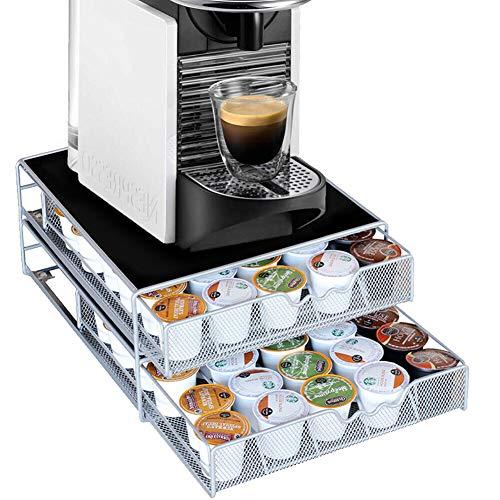 Bakaji Contenitore Doppio Porta Capsule e Cialde Caffè Nespresso Nescafè Lavazza In Metallo 2 Cassetti Estraibili Silver e Top Nero (37 x 28 x 15 cm)