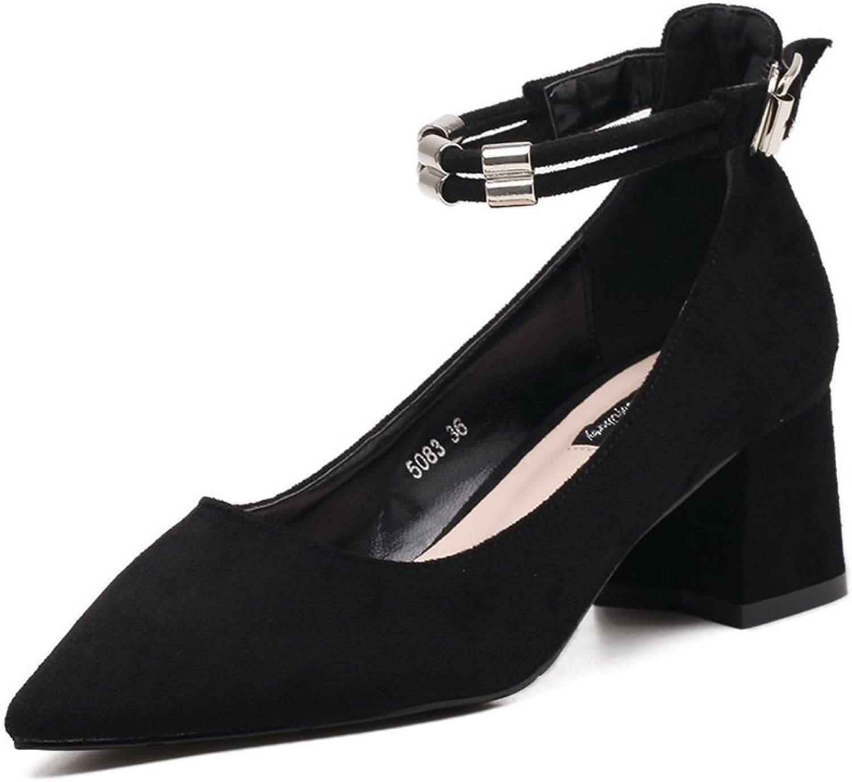 AdeeSu Womens Pointed-Toe Chunky Heels Metal Buckles Suede Pumps shoes