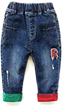 KIDSCOOL SPACE Baby Toddler Leg Opening Letters Decor Fashion Jeans,Blue,6-12 Months