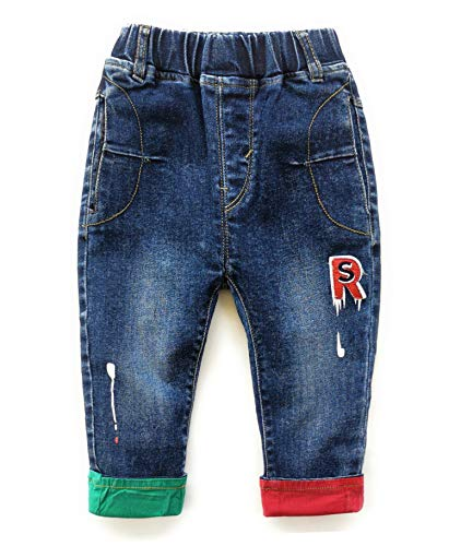 Kidscool Space Baby Toddler Leg Opening Letters Decor Fashion Jeans,Blue,2-3 Years