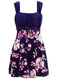 Wantdo Traje de Baño de Cintura Alta Falda de Verano Traje de Baño de Una Pieza Elegante Traje de Baño de Una Pieza para El Mar y La Playa Vestido Floral para Mujer Azul Real 52-54