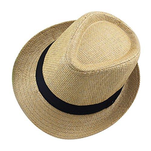 AIEOE Kinder Panamahut mit Stoffband Mädchen Jungen Strohhut Sonnenschutzhut Street Style - Khaki für Kopfumfang 53-54cm