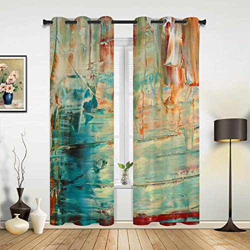 Window Curtains Drapes Panels Vintage Canvas Art Texture Grommet Top Window Treatment Set for Bedroom Living Room- Set of 2 Panels, 72 Inch Length Drapes