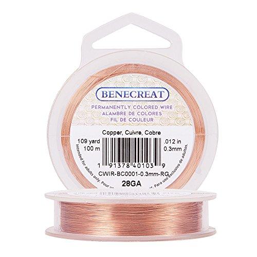 BENECREAT 100m Alambre de Cobre Cable Metálico Accesorios de manualidad para Diseño de Bisutería - Color de Cobre Calibre 28