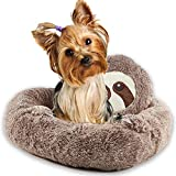 Fenley Cat Dog Bed for Small Pets Below 20 LB, 2-in-1 Cute Sloth Extreme Soft Round Suit Sleep Habit Calming Pet Cat Dog Beds, Furry Cover- PP Cotton- Antiskid Puppy Pet Beds Warm Comfort-20 in