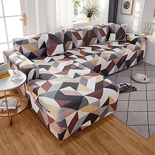 ASCV Plaid Bedruckte L-förmige Sofabezüge für das Wohnzimmer Sofa Protector Anti-Staub Elastic Stretch Corner Sofabezug Schonbezug A29 4-Sitzer