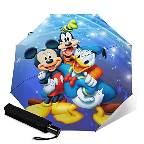 Cartoon Donald Duck Mickey Minnie paraguas plegable automático portátil para mujeres y hombres reforzado resistente al viento marco impermeable y resistente a los rayos UV