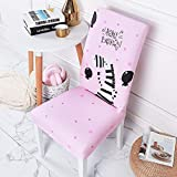 Zebra 4 Pack armless Chair Cover Removable Washable Short Dining Chair for Home, Restaurant, Party Pink