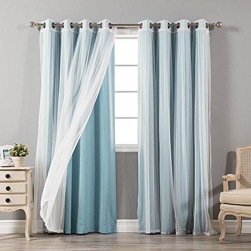 """Best Home Fashion uMIXm Tulle Sheer Lace & Blackout 4 Piece Curtain Set - Antique Bronze Grommet Top - Ocean - 52"""" W X 96"""" L - (Set of 4 Panels)"""