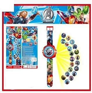 VIJETTAIR 1pcs Cartoon Digital Watches Led Projector Figures Spiderman Batman Iron Man Ben10 Snow White Action Figures Kid Gift Toy