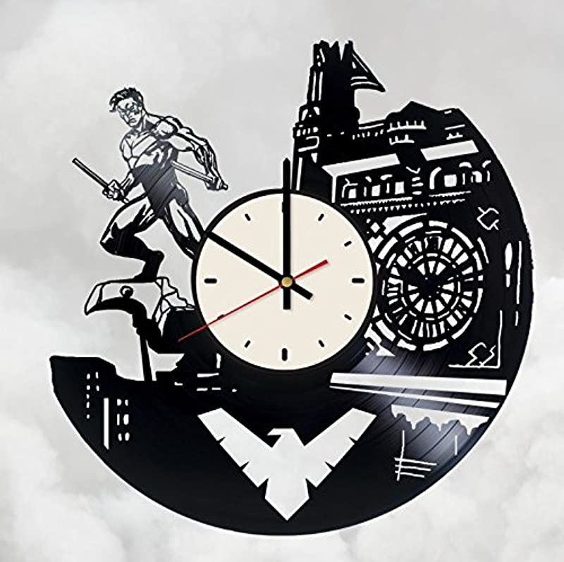 Nightwing Vinyl Wall Clock DC Comics Unique Gifts Living Room Home Decor
