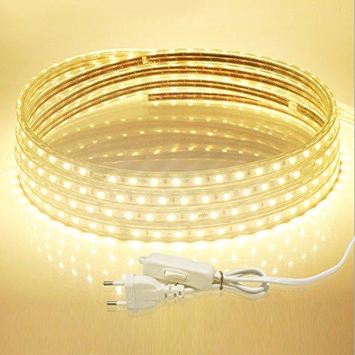 LED Streifen, Savvypixel 5m/16.4ft 220V LED Lichtband Wasserdicht LED Leisten mit EU Stecker für zu Hause Küche Festival Beleuchtung Dekoration ( Warmweiß )