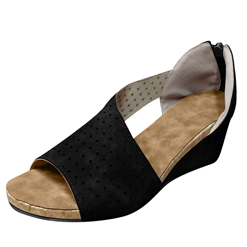 AIMTOPPY Women Open Toe Pump Heel Sandals Ladies Fashion Wedges Hollow Out Casual Roman Shoes dcfovswx052503