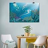 Lienzo para acuario, medusas artísticas nadando bajo el mar, plantas de arrecifes de coral, fauna oceánica, pintura para oficina, 40,6 cm de ancho x 50,8 cm de largo, azul, rosa naranja