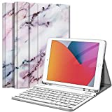 Fintie Keyboard Case for New iPad 8th Gen (2020) / 7th Generation (2019) 10.2 Inch, Soft TPU Back Stand Cover with Pencil Holder, Magnetically Detachable Wireless Bluetooth Keyboard, Marble Pink