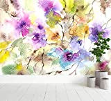 Oedim Papel Pintado para Pared Acuarelas Formando Flores| Fotomural para Paredes | Mural | Papel Pintado | 400 x 300 cm | Decoración comedores, Salones, Habitaciones
