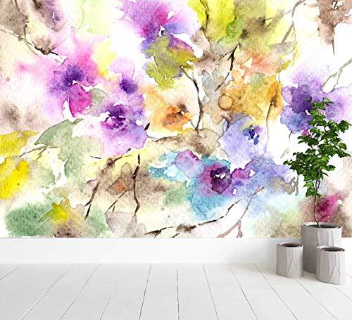 Oedim Fotomural Vinilo para Pared Acuarelas Formando Flores | Fotomural para Paredes | Mural | Fotomural Vinilo Decorativo |500 x 300 cm | Decoración comedores, Salones, Habitaciones