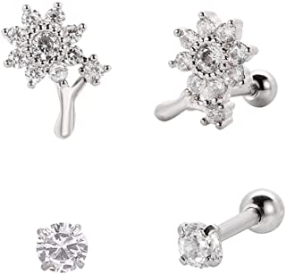 16g Cartilage Earrings Stud Piercing Jewelry 4Pcs,Cute Bowknot/4Flower/Sunflower with Cubic Zirconia Design,Silver Screw Ball Back Surgical Steel