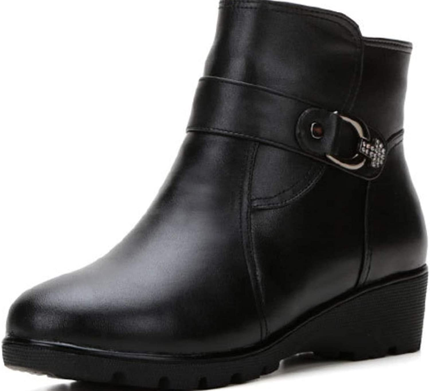 Shiney Women's Cotton shoes Wool Boots Warm Leather Round Head Short Boots