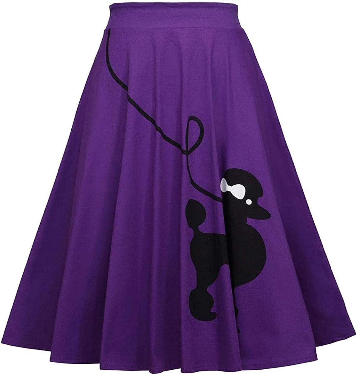 Rsqsjgkert Women's 50s Cute Poodle Zipper Back Ruffled Swing A-Line Skirt