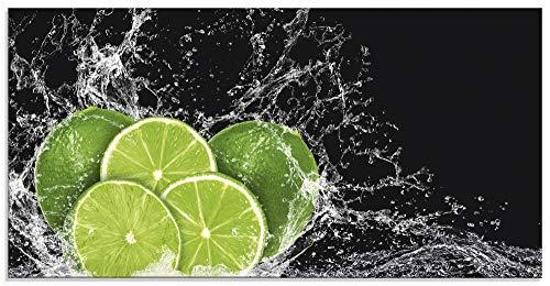 Artland Glasbilder Wandbild Glas Bild einteilig 100x50 cm Querformat Küchenbilder Obst Früchte Limette im Wasser Grün H9KL