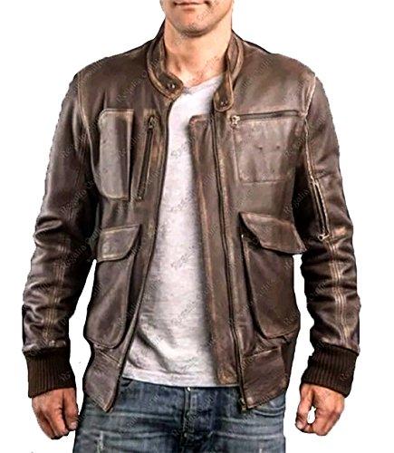 Gearswears Chaqueta de piel para hombre, estilo retro, color marrón envejecido, para motociclista, para