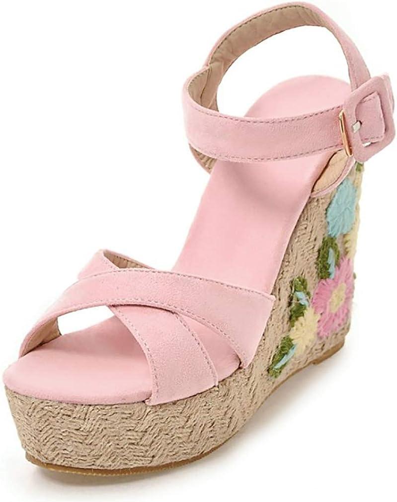 heelchic Women Knit Flower Reservation Indianapolis Mall Espadrilles Sandals Summer Wedge Casu