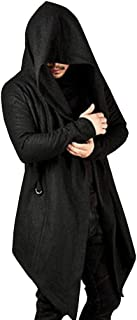 FAXIKIO Mens Long Sleeve Hooded Cardigan, Irregular Hem Open Front Trench Coat, Autumn Loose Fit Sweater Jacket Outwear