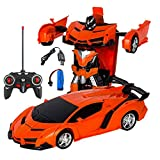 Volwco Modelo 1:18 RC Deformation Coche, Vehículos de control remoto Robot con deformación de un botón y luces LED de sonido de música, maravilloso regalo para niños y adolescentes