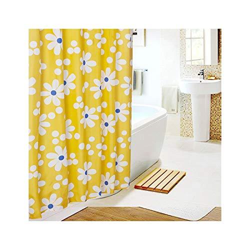 SonMo Duschvorhang Weiß Sonnenblume Polyester Gelb Wasserdicht Anti-Bakteriell Anti-Schimmelbadvorhang mit Duschvorhangringen 240×200CM