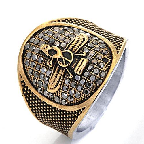 Bishilin Gothic Titan Ring Männer Tier Adler Punk Herrenring Freundschaftsringe Gold Silber Größe 65 (20.7)