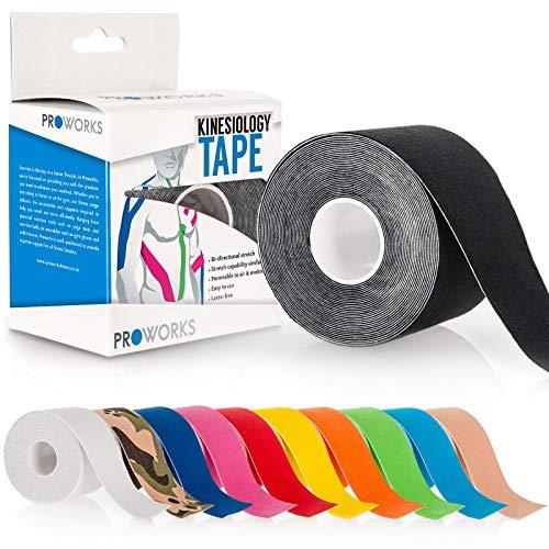Proworks Kinesiologie Tape [5cm x 5m Rollenlänge] Tape für Muskeln und Gelenke [Wasserfest] für Training, Physiotherapie und Schmerztherapie Schwarz