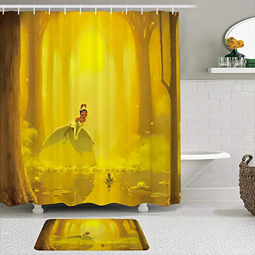 Fabric Shower Curtain and Mats Set,Dreamy Cartoon Princess and Frog in Golden Forest,Waterproof Bath Curtains with 12 Hooks,Non Slip Rugs