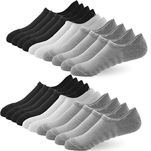 BUDERMMY Sneaker Socken Damen Herren F¨¹?linge 10 Paar No Show Socken Footies Unsichtbare Kurze Socken Gro?es Silikonpad Anti Rutsch(10 Paar Gemischt, 35-38)