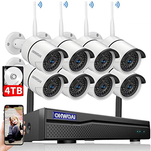 【2020 New】 Security Camera System Wireless, 4TB Hard Drive Pre-Install 8 Channel 1080P NVR, 8PCS 1080P 2.0MP CCTV WI-FI IP Cameras for Homes,OHWOAI HD Surveillance Video Security System. (Renewed)