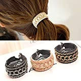 3Pcs Korean Style stripe Bow Hair Claw Elegant Solid Cloth Ties Banana Hair Crab Clips Ponytail Hold For Women and Girls (A)