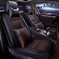JINRYIGK カーシートカバーシュコダオクタビアA5コディアック素晴らしいファビア3カロクイエティラピッドカーアクセサリー用のスポーツスタイルのカーシートカバー、茶色の枕があります
