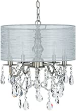 Amalfi Decor 5 Light Crystal Beaded Chandelier with Drum Shade, LED Wrought Iron K9 Glass Pendant Light Fixture Contemporary Nursery Kids Room Dimmable Plug in Hanging Ceiling Lamp, Silver