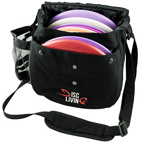 Disc Living Disc Golf Bag | Frisbee Golf Bag | Lightweight Fits Up to 10 Discs | Belt Loop | Adjustable Shoulder Strap Padding | Double Front Button Design | Bottle Holder | Durable Canvas (Black)