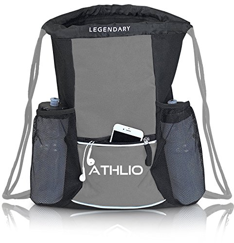 Legendary Drawstring Gym Bag - Waterproof | For Sports & Workout Gear | XL Capacity | Heavy-Duty Sackpack Backpack (Graphite)