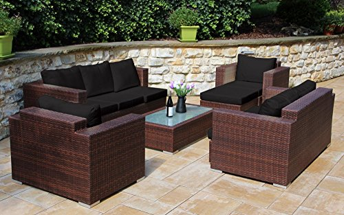 Baidani 13b00007.92001 Daylight Rattan Garden Lounge Set 192 x 150 x 63 cm Brown