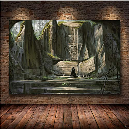 LGXINGLIyidian Skyrim The Elder Scrolls Spiel Poster Und Drucke Wandkunst Dekorative Bild Leinwand Malerei Für Wohnzimmer Home Decor Ungerahmt Ku110 40X50Cm