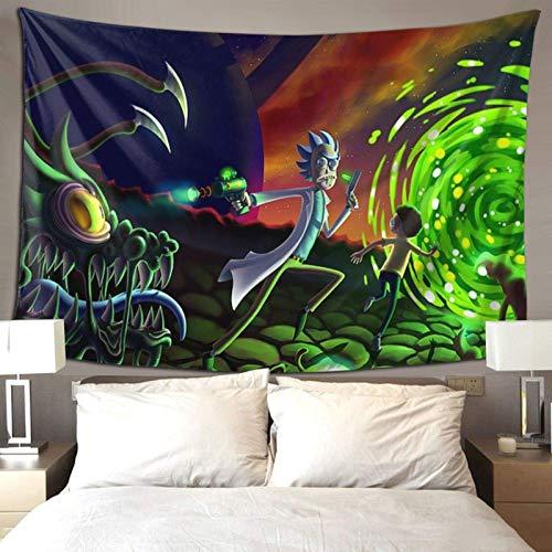 XCNGG Ri-ck and Mor-ty Tapiz de anime para colgar en la pared, manta de pared, fondo de TV, cortina de ventana, tapete de picnic, decoración de pared para dormitorio, sala de estar, dormitorio de