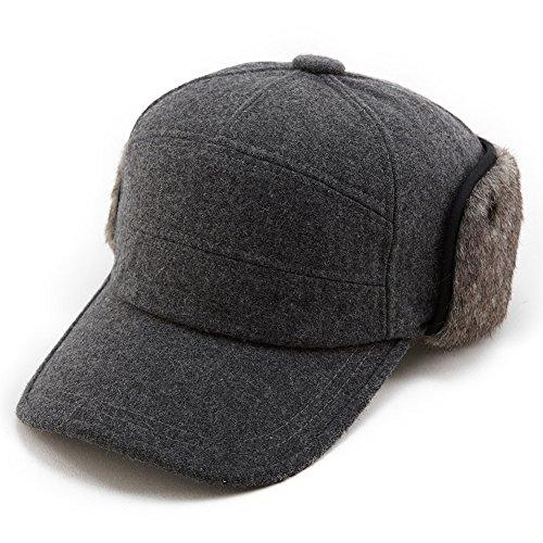 Comhats Mens Winter Wool Baseball Cap Earflap Hat Faux Fur Ear Flap Hat Fitted Hat Trapper Gray Grey